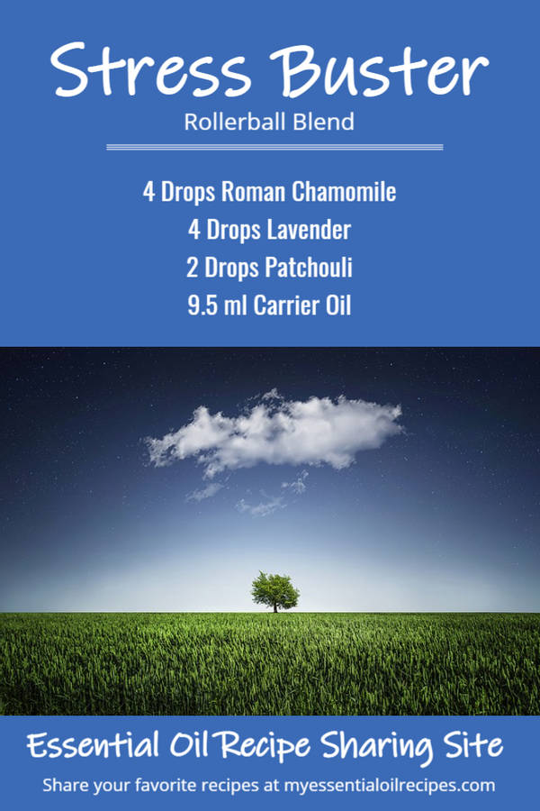 Infographic - Recipe for Stress Buster Rollerball with Essential Oils of Roman Chamomile, Lavender and Patchouli