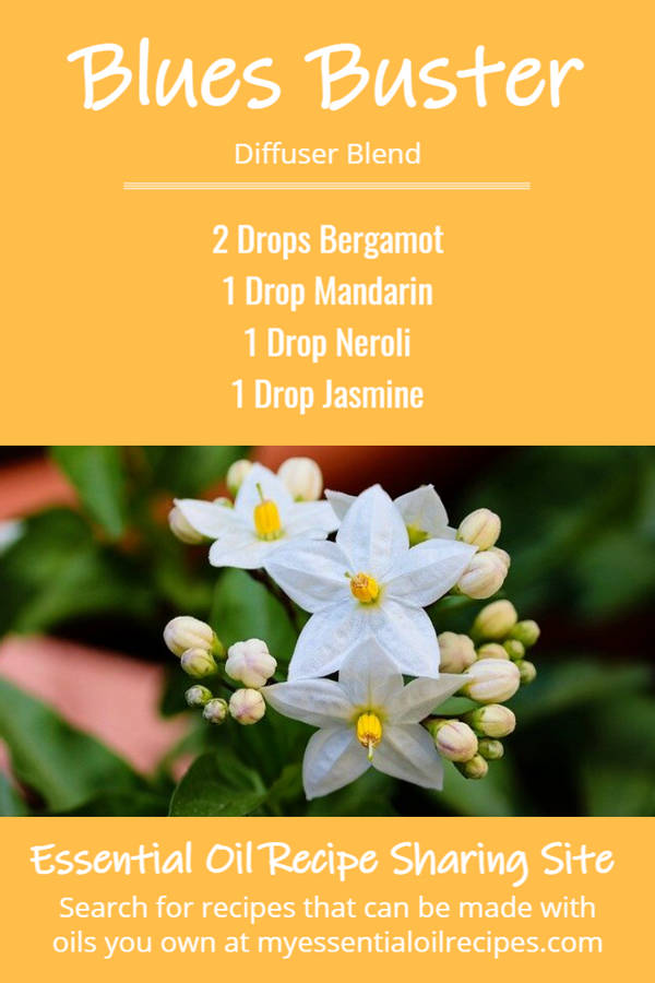 Infographic - Recipe for Blues Buster Essential Oil Blend with Bergamot, Mandarin, Neroli and Jasmine