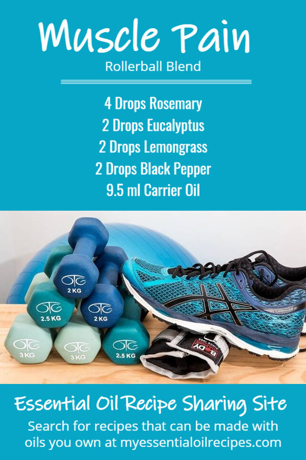 Infographic - Recipe for Muscle Pain Post Workout Blend with Rosemary, Eucalyptus, Lemongrass and Black Pepper Essential Oils