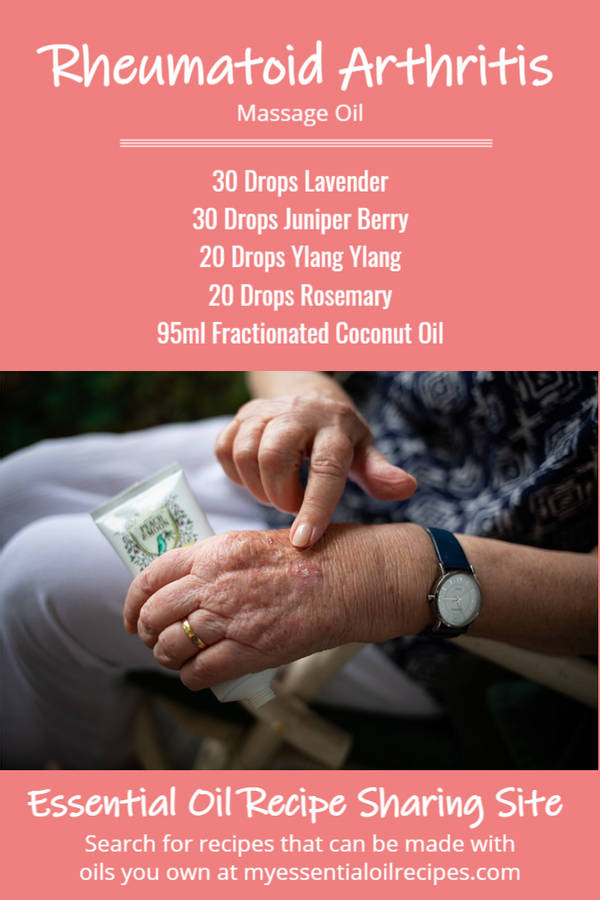 Infographic - Recipe for Rheumatoid Arthritis Massage Oil with Lavender, Juniper Berry, Ylang Ylang and Rosemary Essential Oils